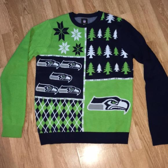timeless design e0943 a6c7e Seattle Seahawks ugly sweater men's large EUC